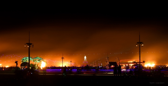 The C.O.R.E. burn, where regional effigies representing communities spawned from Burning Man all over the world burn in unison in one giant circle.